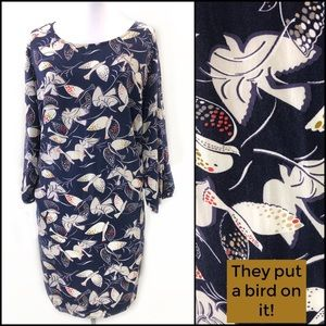 Tunic Dress Hipster Dove Bird Navy Blue Zipper